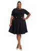 Elbow Fit And Flare Dress In Black