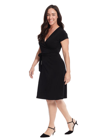 Cap Sleeve Black Faux Wrap Dress