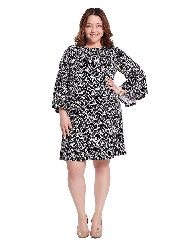 Printed Bell Sleeve Shift Dress In Cream And Black