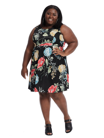 Sleeveless Fit And Flare Dress In Black Floral Print