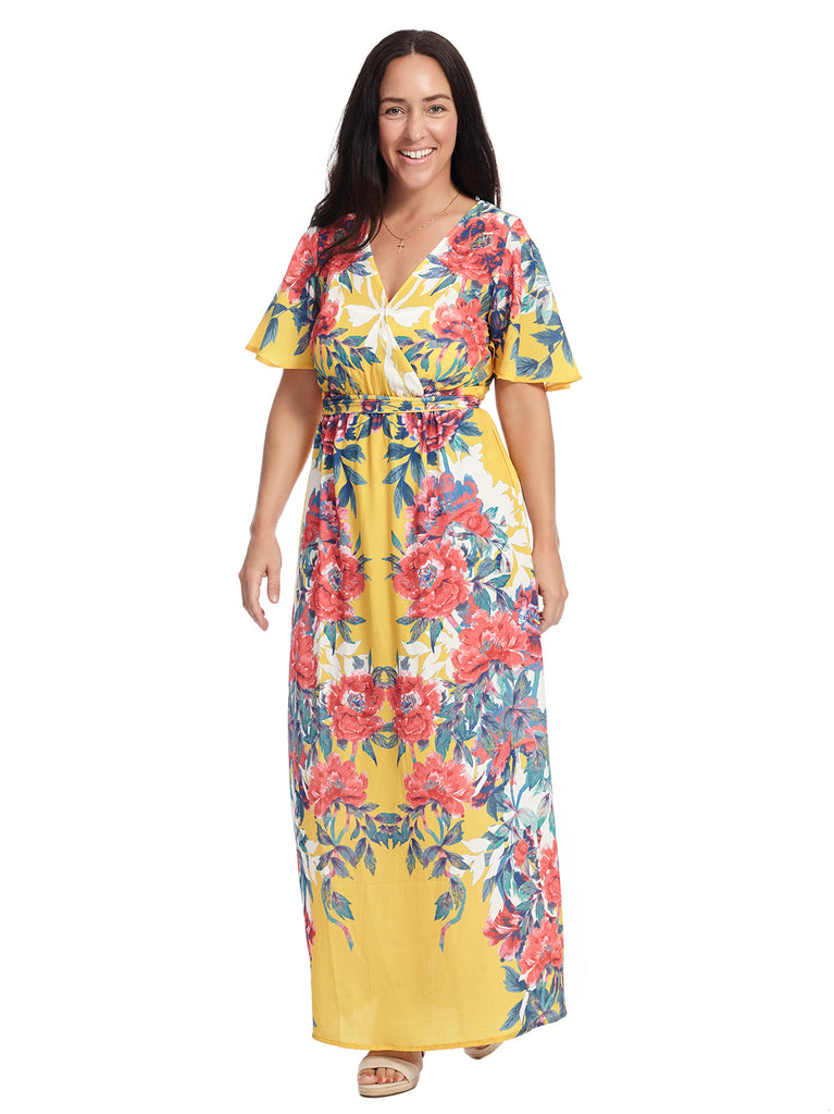 V-Neck Multi Floral Yellow Printed Dress