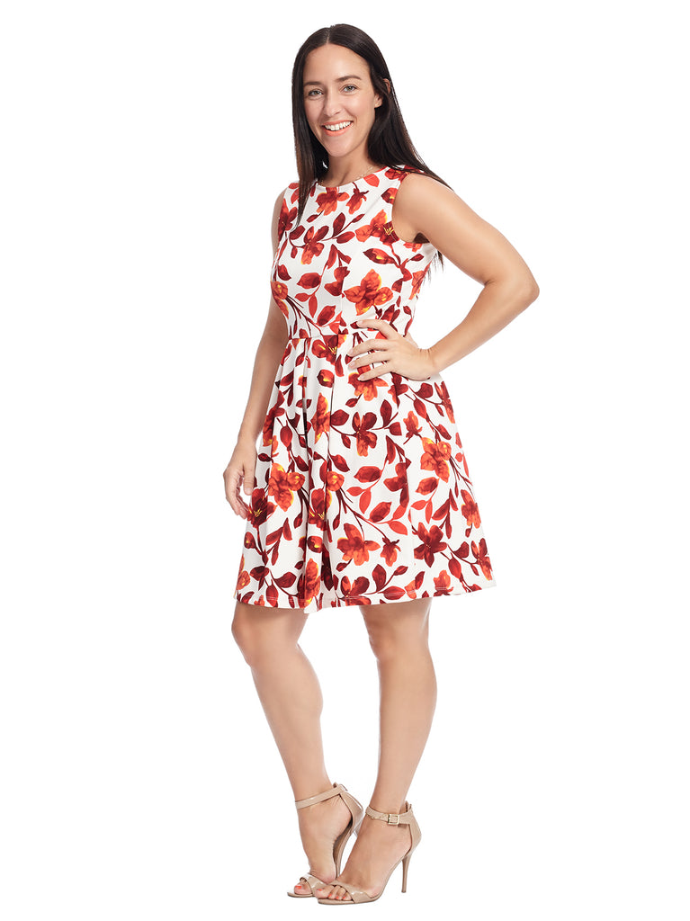 White And Red Floral Print Fit And Flare Dress