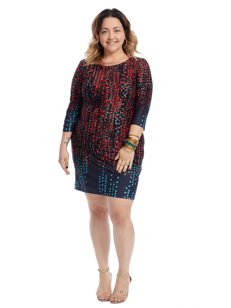 Navy And Red Falling Dots Shift Dress
