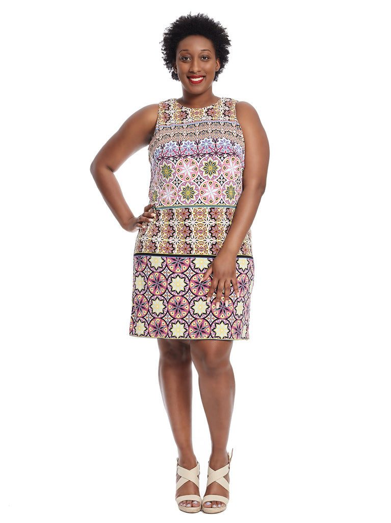 Sleeveless Fiesta Tile Jersey Shift Dress