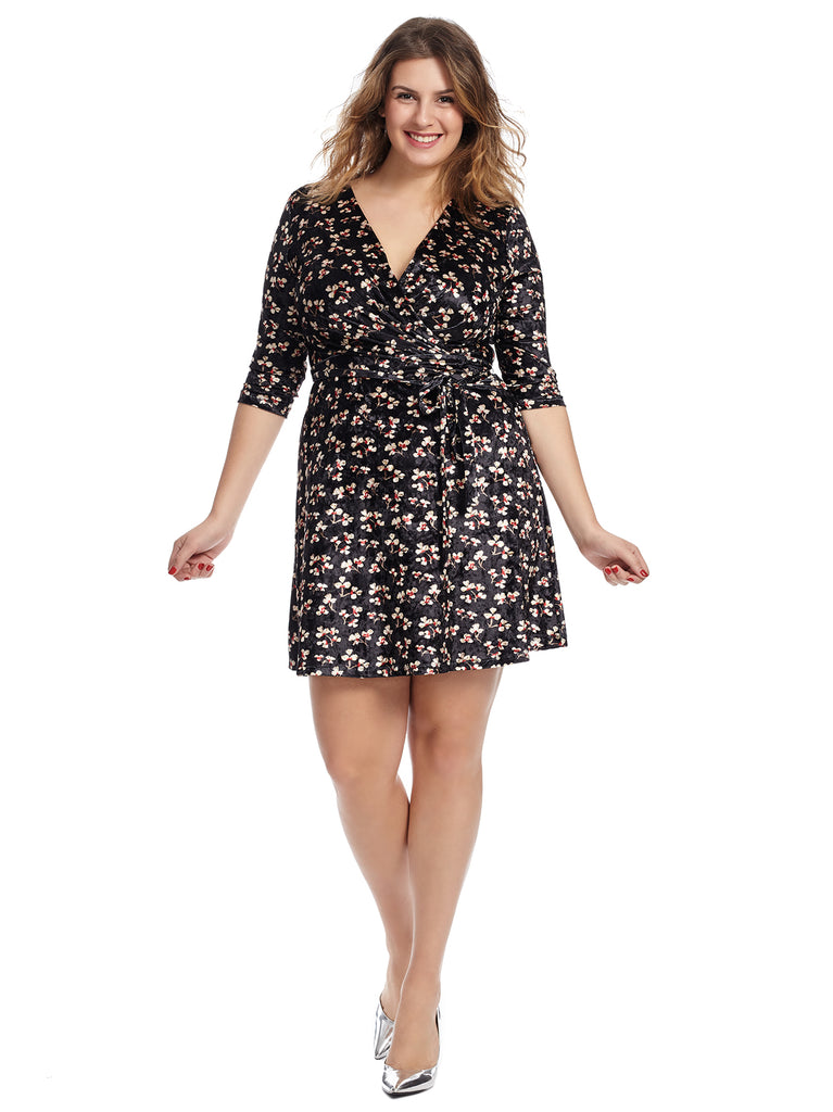Velvet Floral Faux Wrap Dress