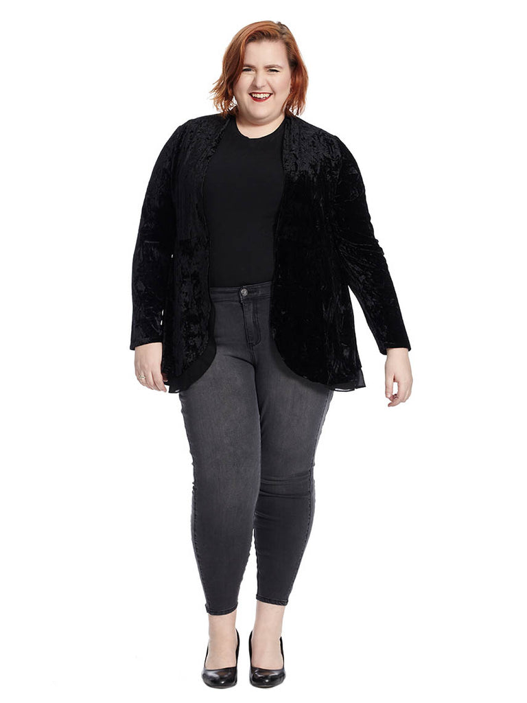 Velvet Open Face Cardigan In Black