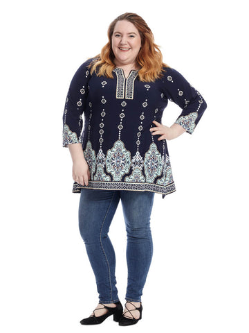 Venice Medallion Border Print Top