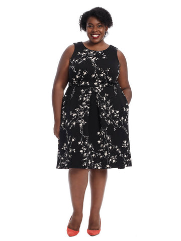 Floral Fit & Flare Dress In Black