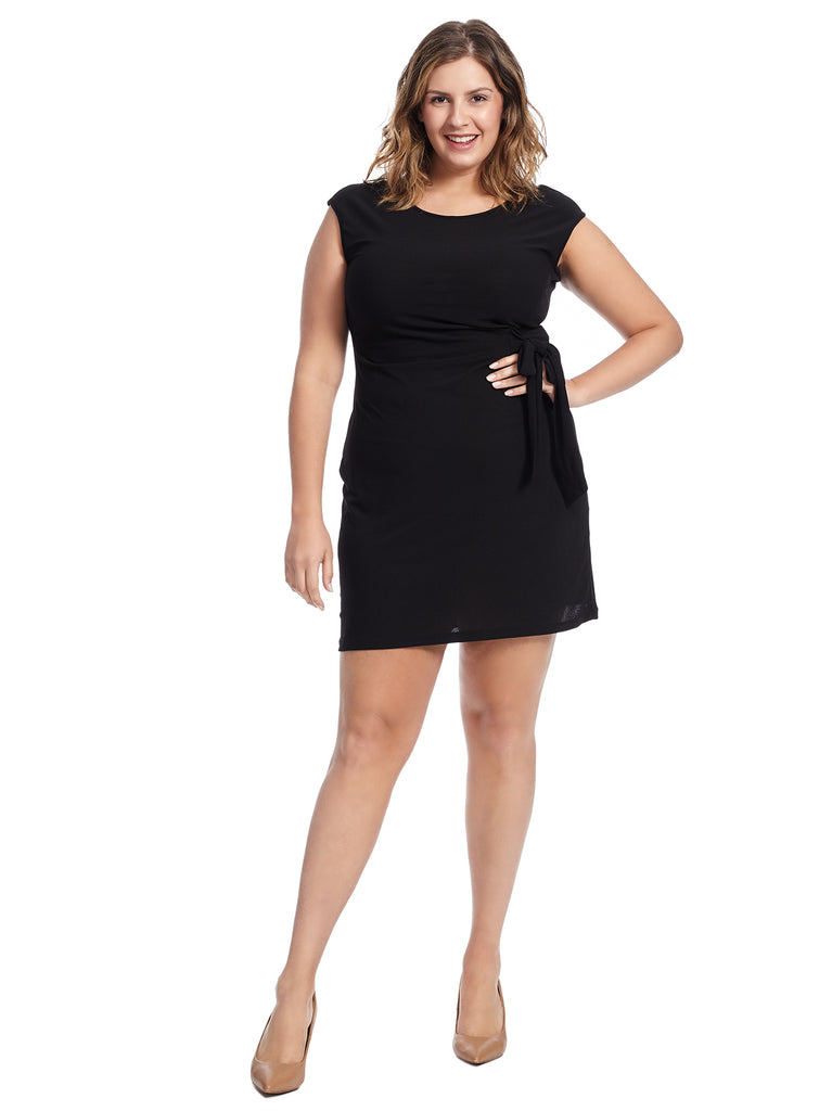 Front Tie Black Sheath Dress
