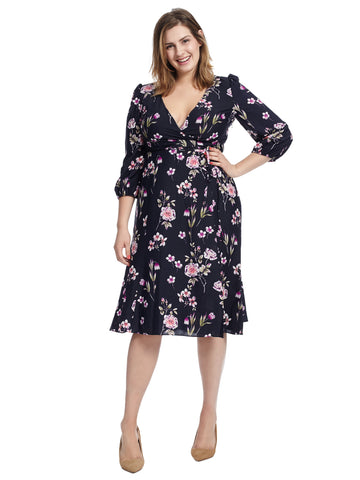 Floral Faux Wrap Tie Waist Dress