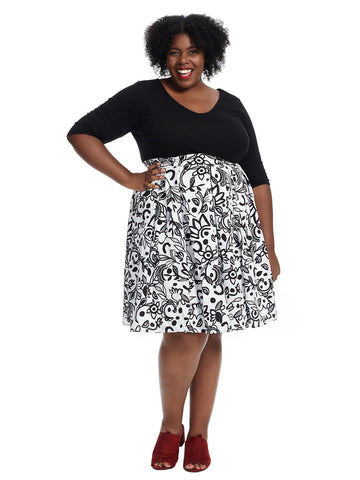 Black And White Twofer Fit And Flare Dress