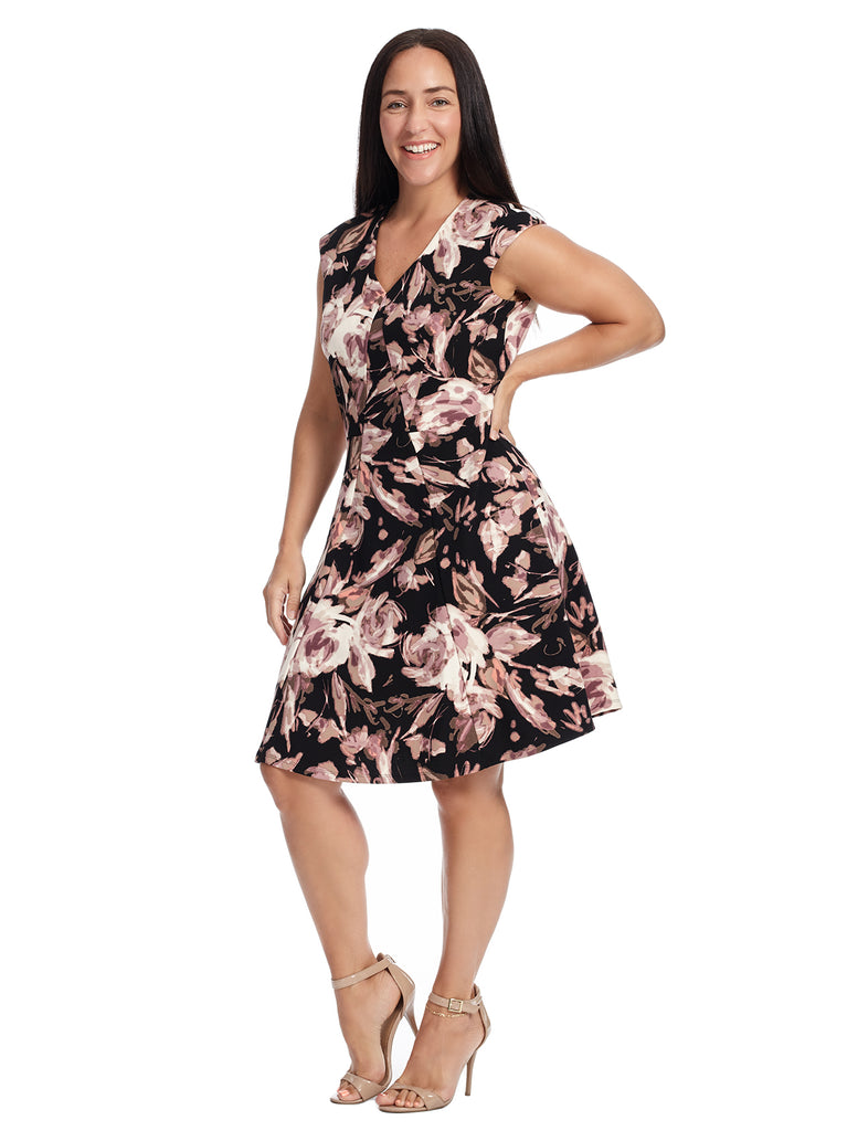 Blossom Crepe Scuba Fit And Flare Dress