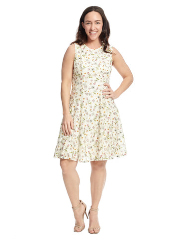 Sleeveless Floral Stem Fit And Flare Dress