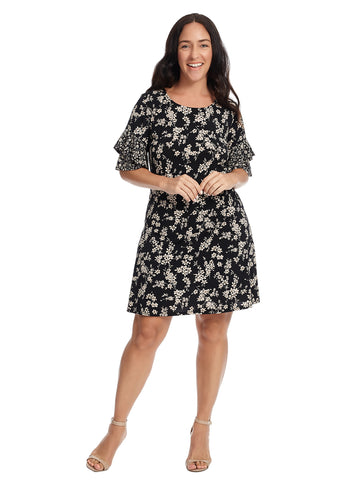 Flared Sleeve Twin Floral Print Shift Dress