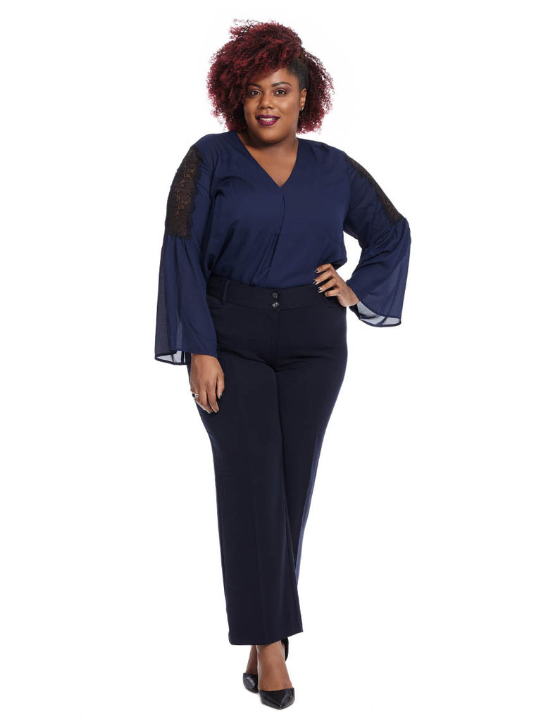 Straight Leg Two Button Trouser In Navy