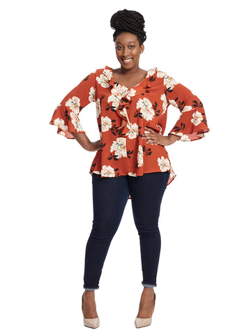 Bell Sleeve Ruffled V-Neck Top In Rust Floral Print