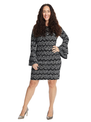 Long Sleeve Dress With Scallop Pattern In Black And Grey