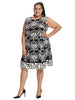 Damask Border Print Dress