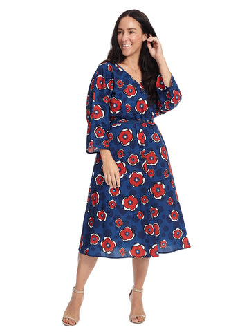 Floral Print Faux Wrap Midi Dress