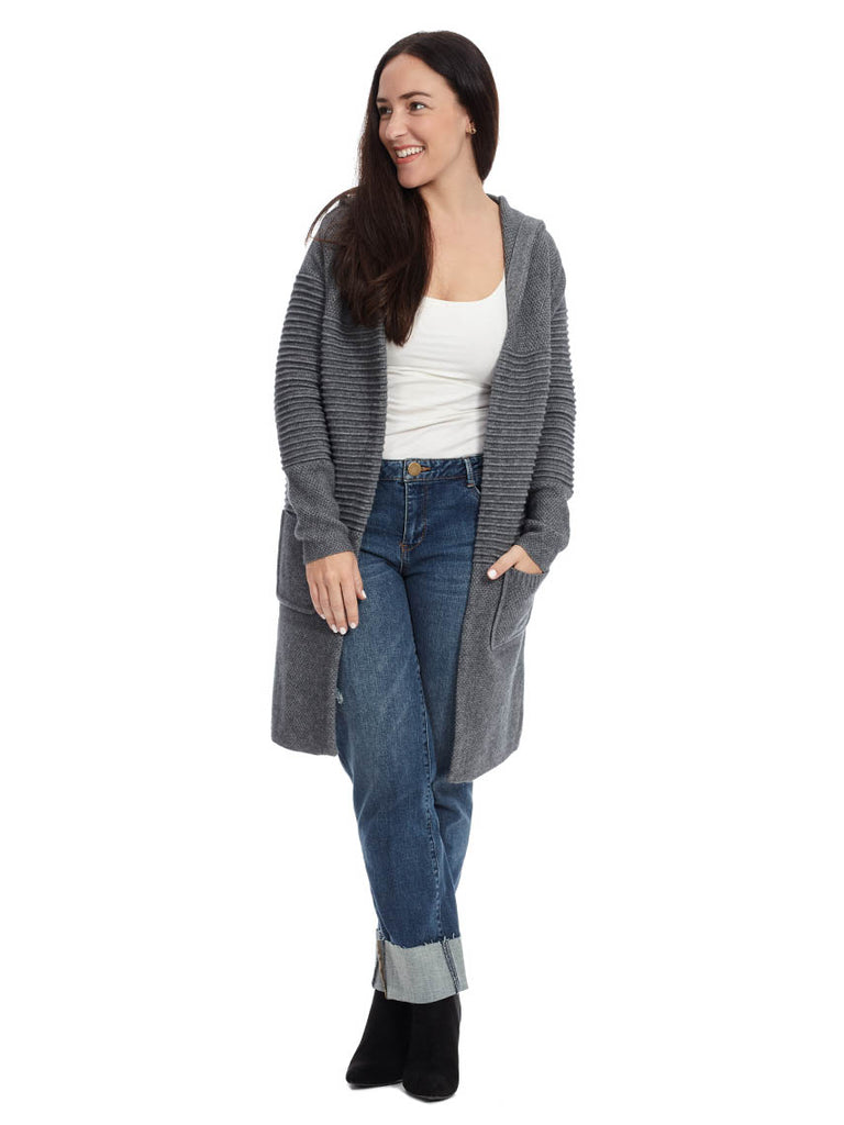 Textured Cardigan in Gray