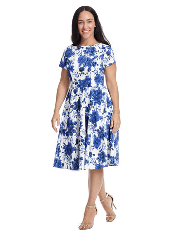 Short Sleeve Blue Floral Print Fit And Flare Dress