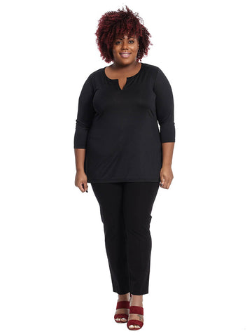Three-Quarter Sleeve Top With Notch Neck Detail In Black