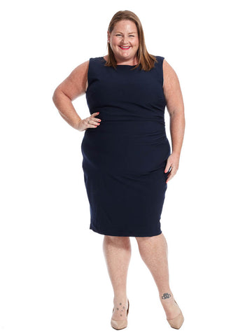 Boat Neck Dress In Navy