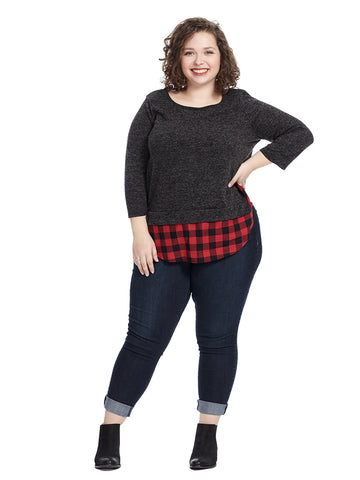 Sweater Top With Plaid Detail In Charcoal