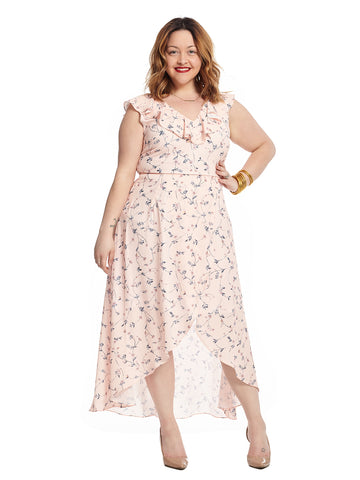 Ruffle Neckline Hi-Lo Midi Light Pink Printed Dress