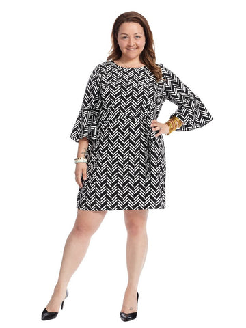 Graphic Jam Flared Sleeve Dress