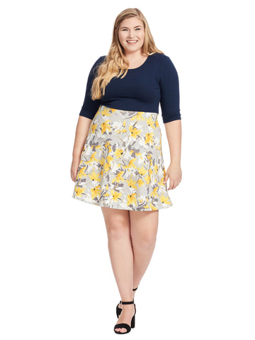 Blue And Yellow Floral Print Fit And Flare Dress