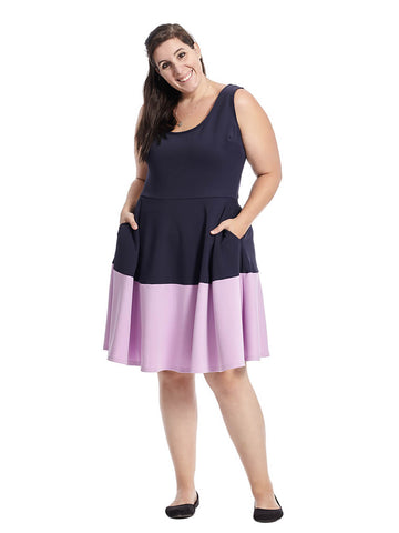 Brooklyn Color Block Dress In Navy/Lilac