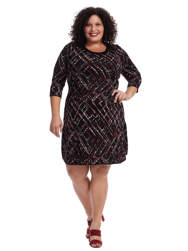Cabernet And Gold Splatter Plaid Sweater Dress