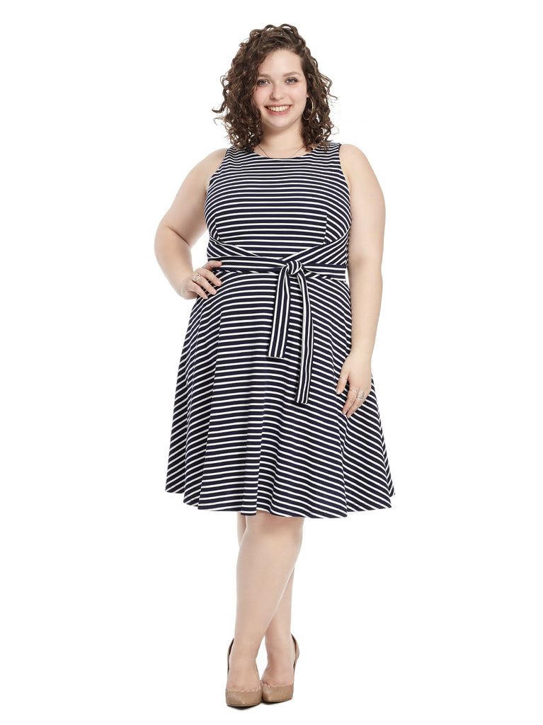 Belted Navy Striped Fit and Flare Dress