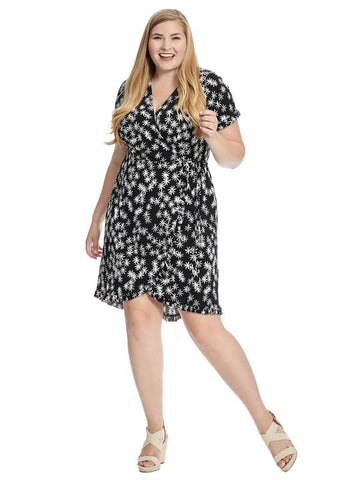 Faux Wrap Dress In Black And White Floral Print