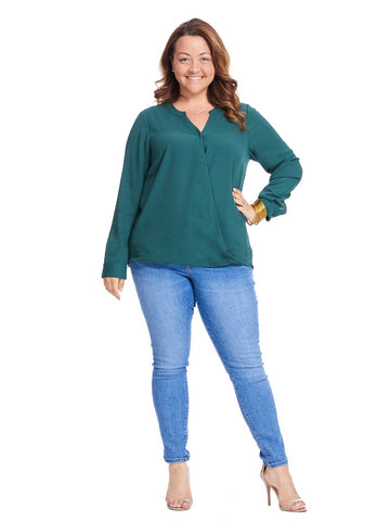 Surplice Drape Top In Dark Fern
