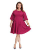 Cold Shoulder Fit & Flare Dress In Berry