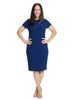 Navy Sheath Dress With Shoulder Cutout