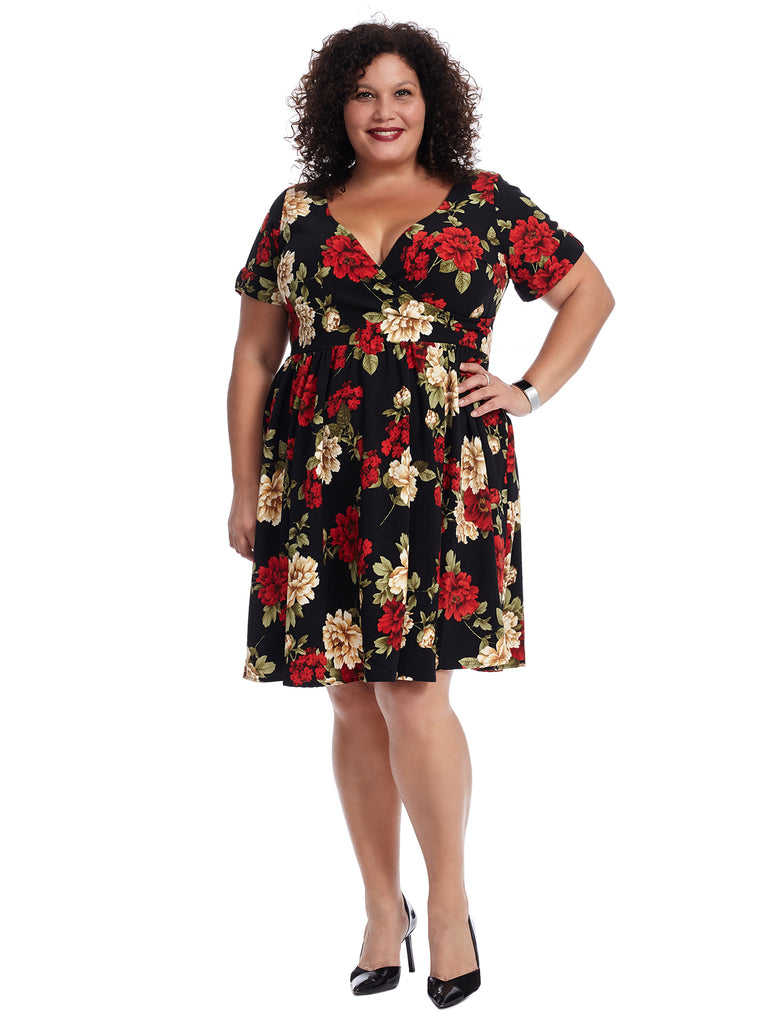 Short Sleeve Black Floral Fit And Flare Dress