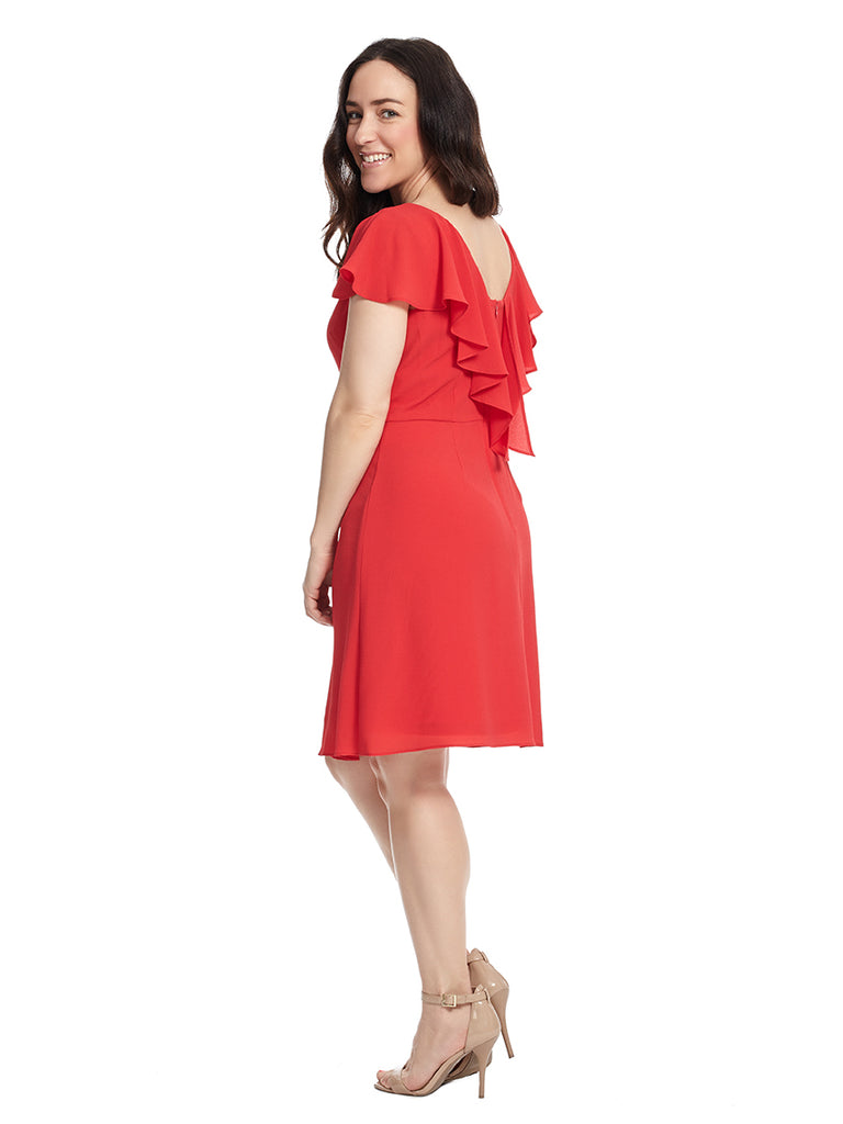 Cataline Crepe Fit And Flare Dress In Red