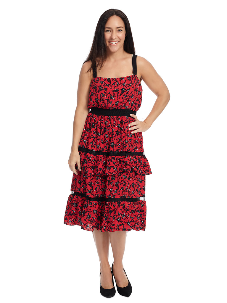 Ruffle Midi Red Print Isabel Dress