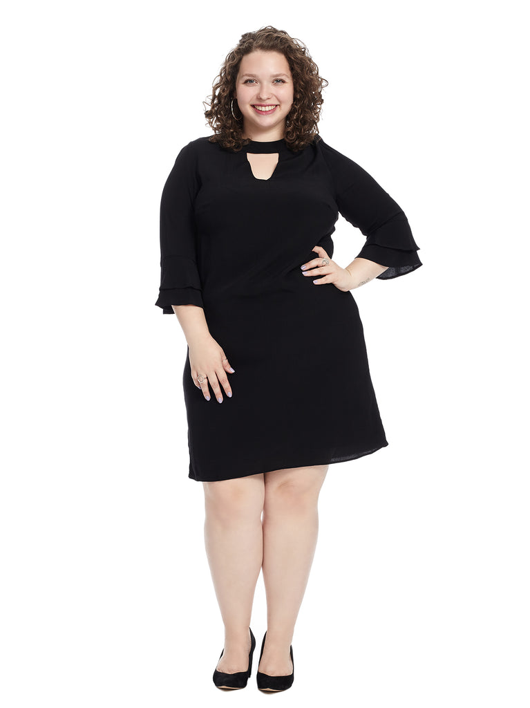 Ruffle Sleeve Black Shift Dress