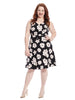 Black Rosebud Floral Crepe Dress