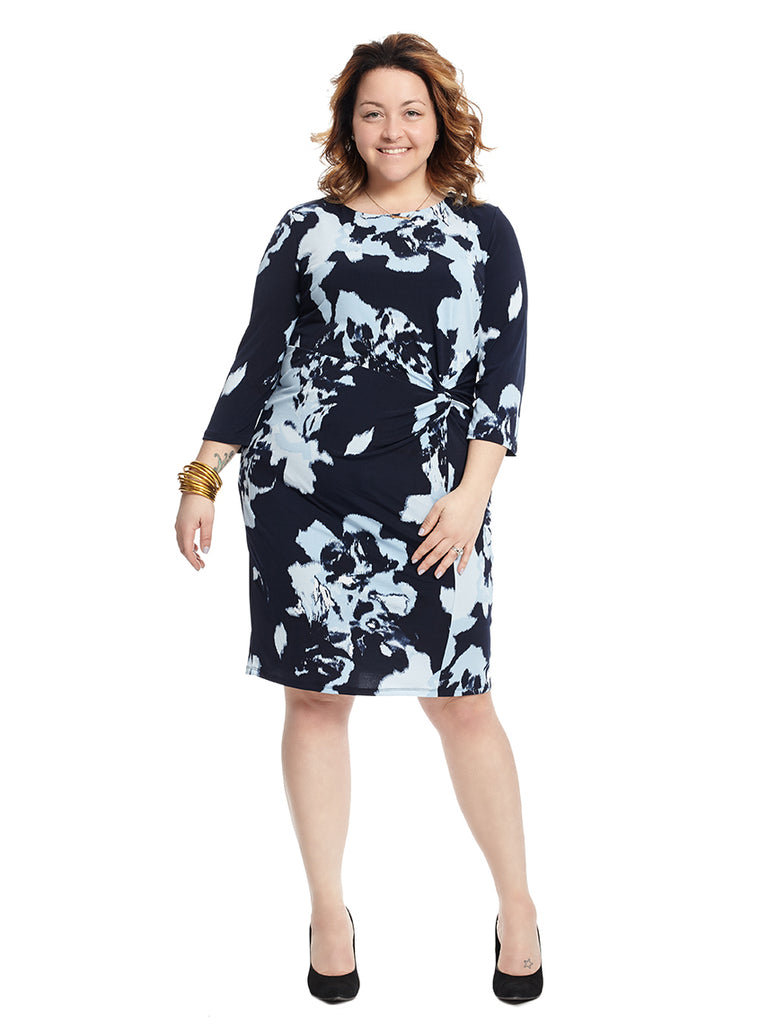 Twist Front Abstract Roses Print Dress
