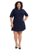 Faux Leather Trim Navy Tina Dress
