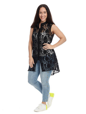 Benn Lace Button Front Top