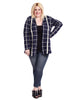 Simply Snuggly Plaid Cardigan In Navy