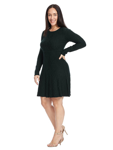 Textured Fit & Flare Sweater Dress In Oscar Green