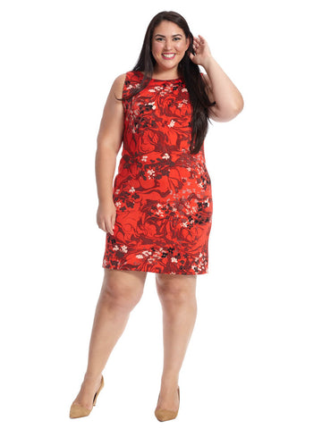Floral Shift Dress In Crimson Red