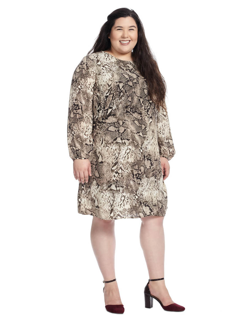 Bell Sleeve Dress In Snake Print